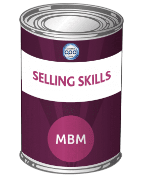 Purple tin with Selling Skills on the label