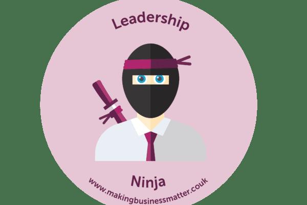 Cartoon ninja in tie on a pink sticker
