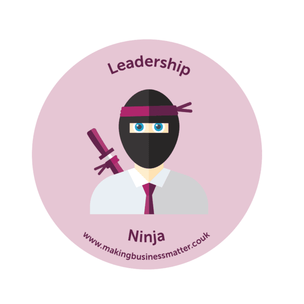Cartoon ninja in tie on a pink sticker