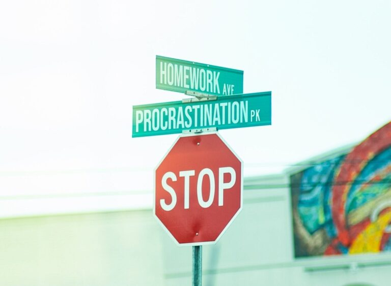 The cross roads between 'homework' and 'procrastination', accompanied by a bright red STOP sign.