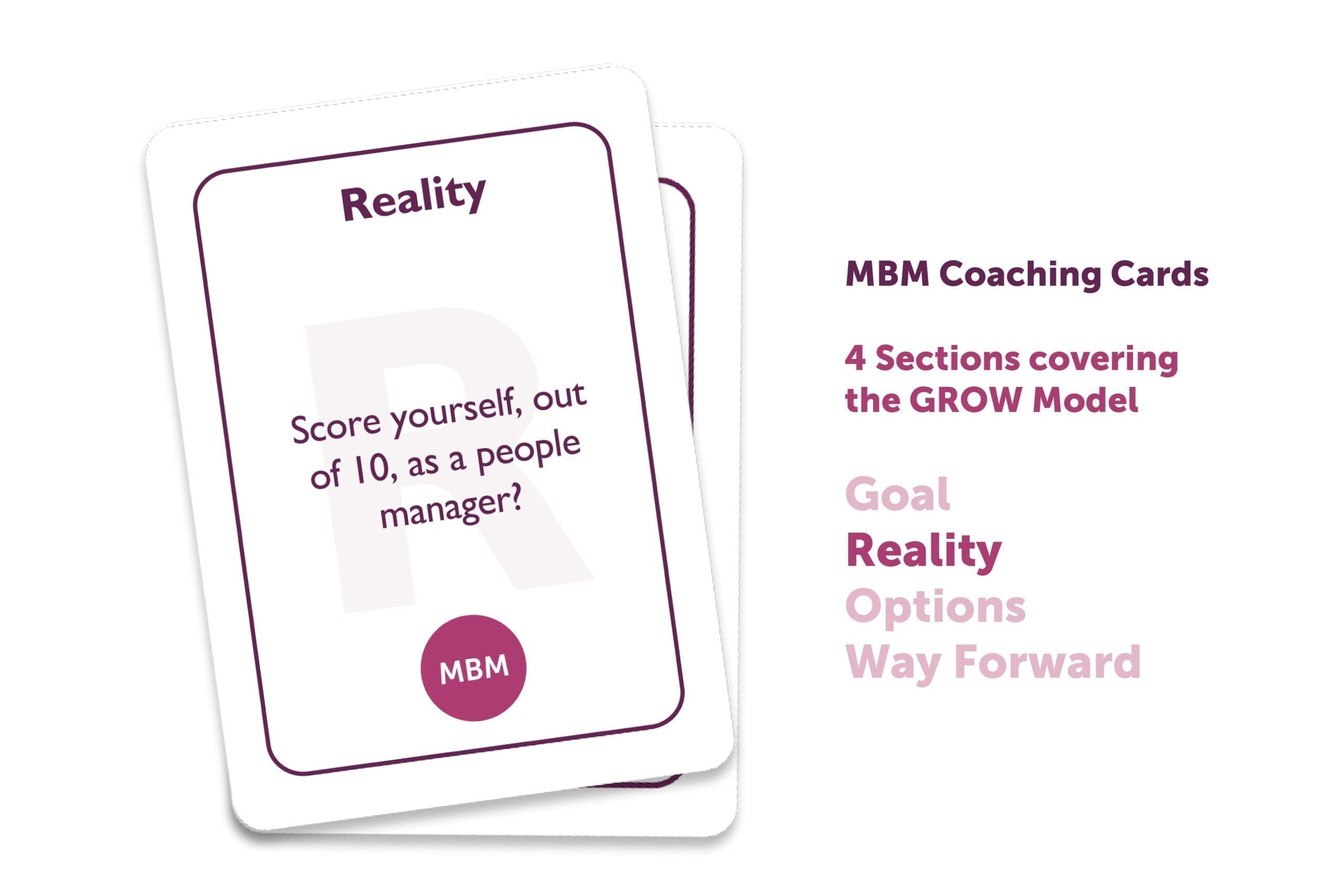 Two coaching cards on top of each other with Reality as the title
