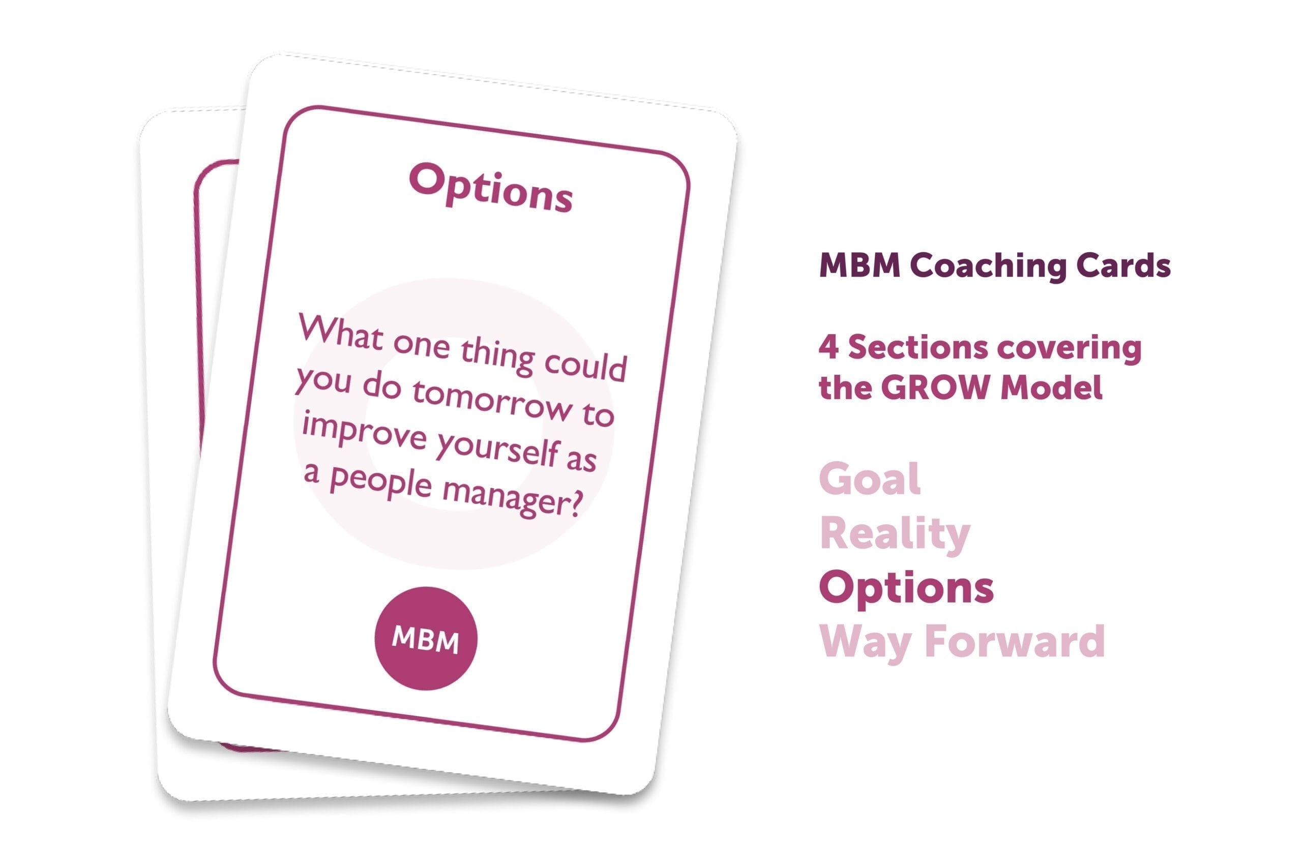2 GROW coaching cards one top of each other with Options as the title