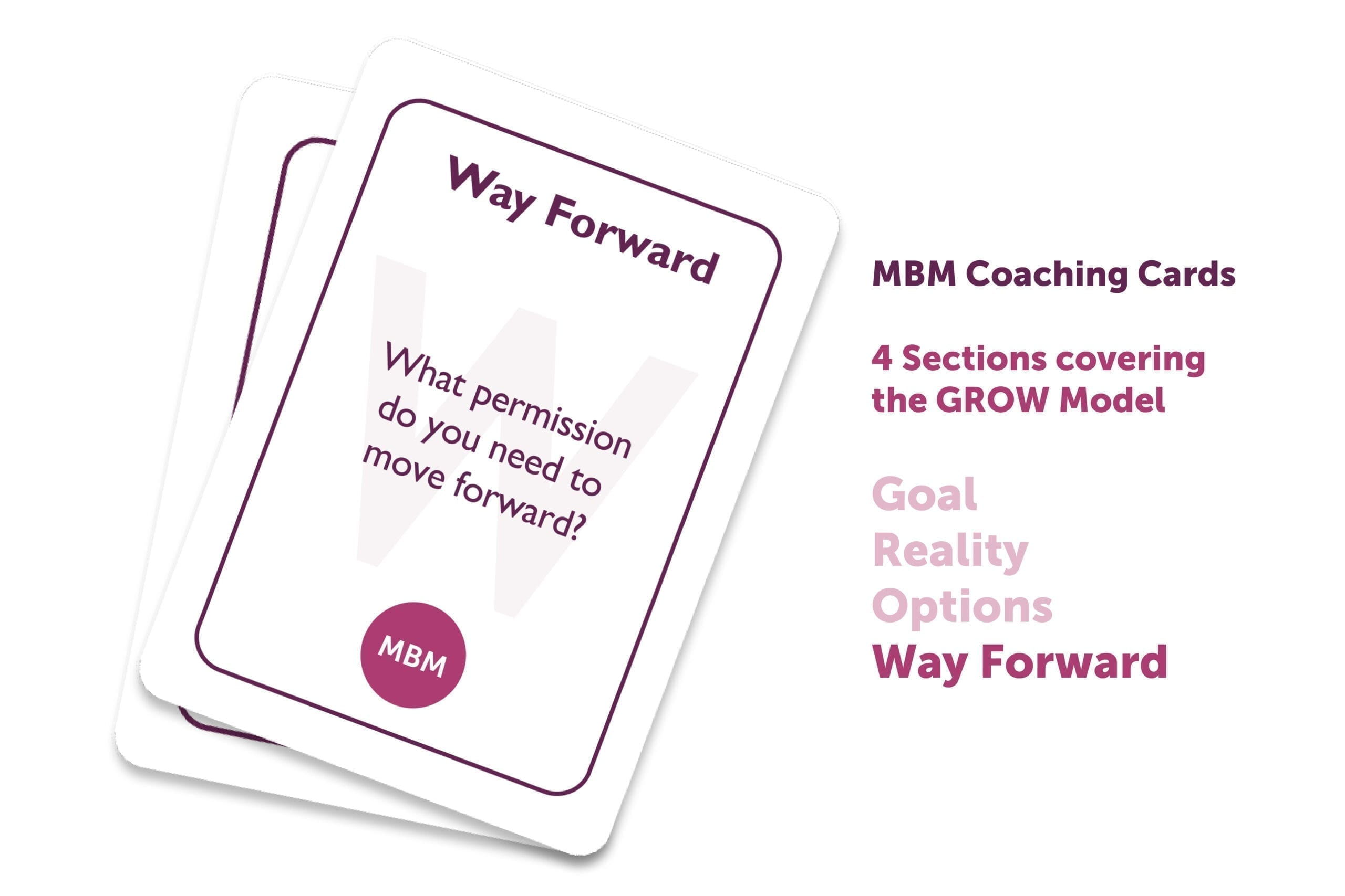 2 GROW coaching cards one on top of another with Way Forward as the title