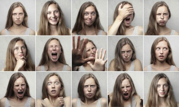 A series of images of the same woman displaying different emotions