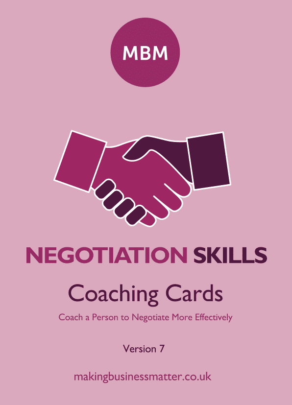 Front cover of negotiation sills coaching card
