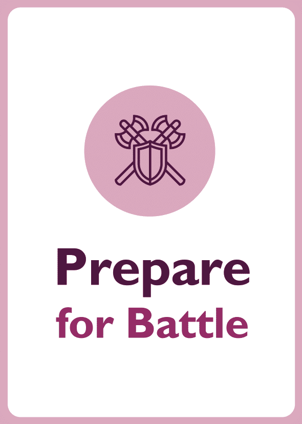 Negotiation skills coaching card titled Prepare for battle