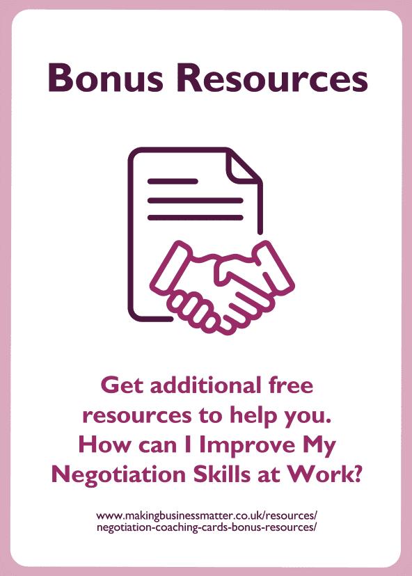 Negotiation skills coaching card titled bonus resources