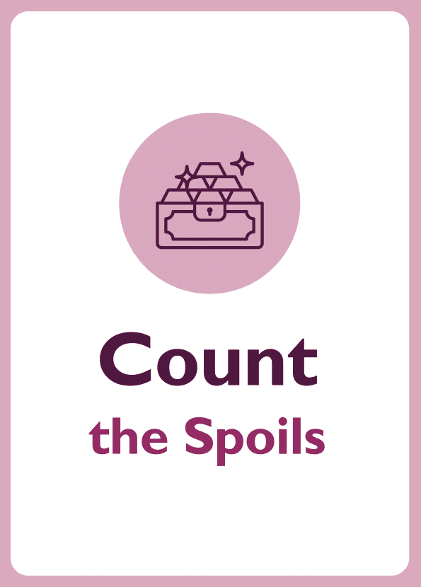 Negotiation skills coaching card titled Count the spoils
