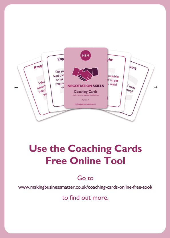 Negotiation skills coaching card titled Free Online Tool