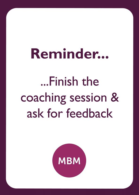 Negotiation skills coaching card titled Reminder