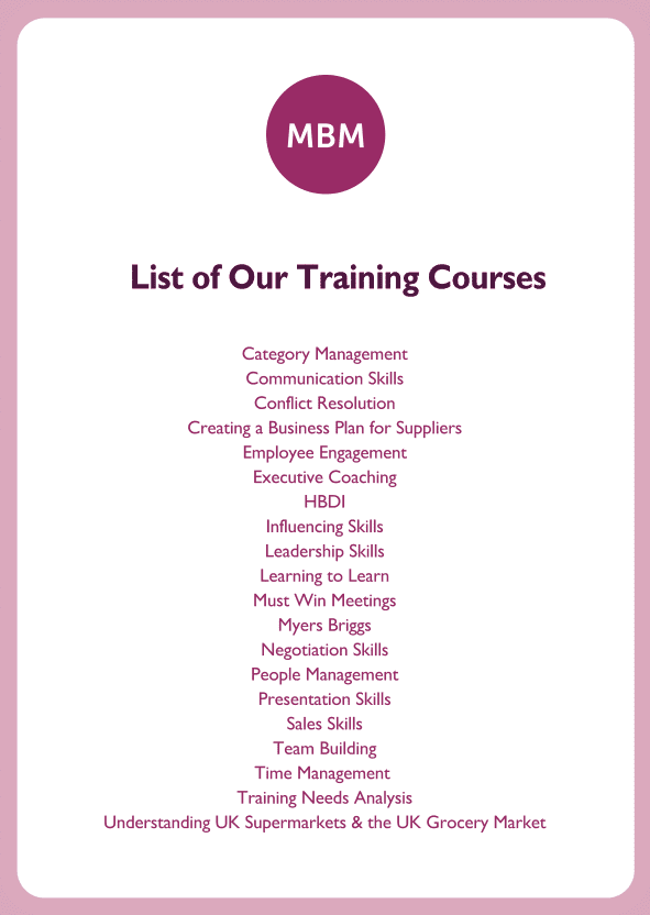 Negotiation skills coaching card titled List of training courses
