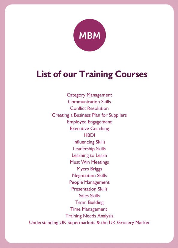New Manager coaching card titled List of our Training Courses