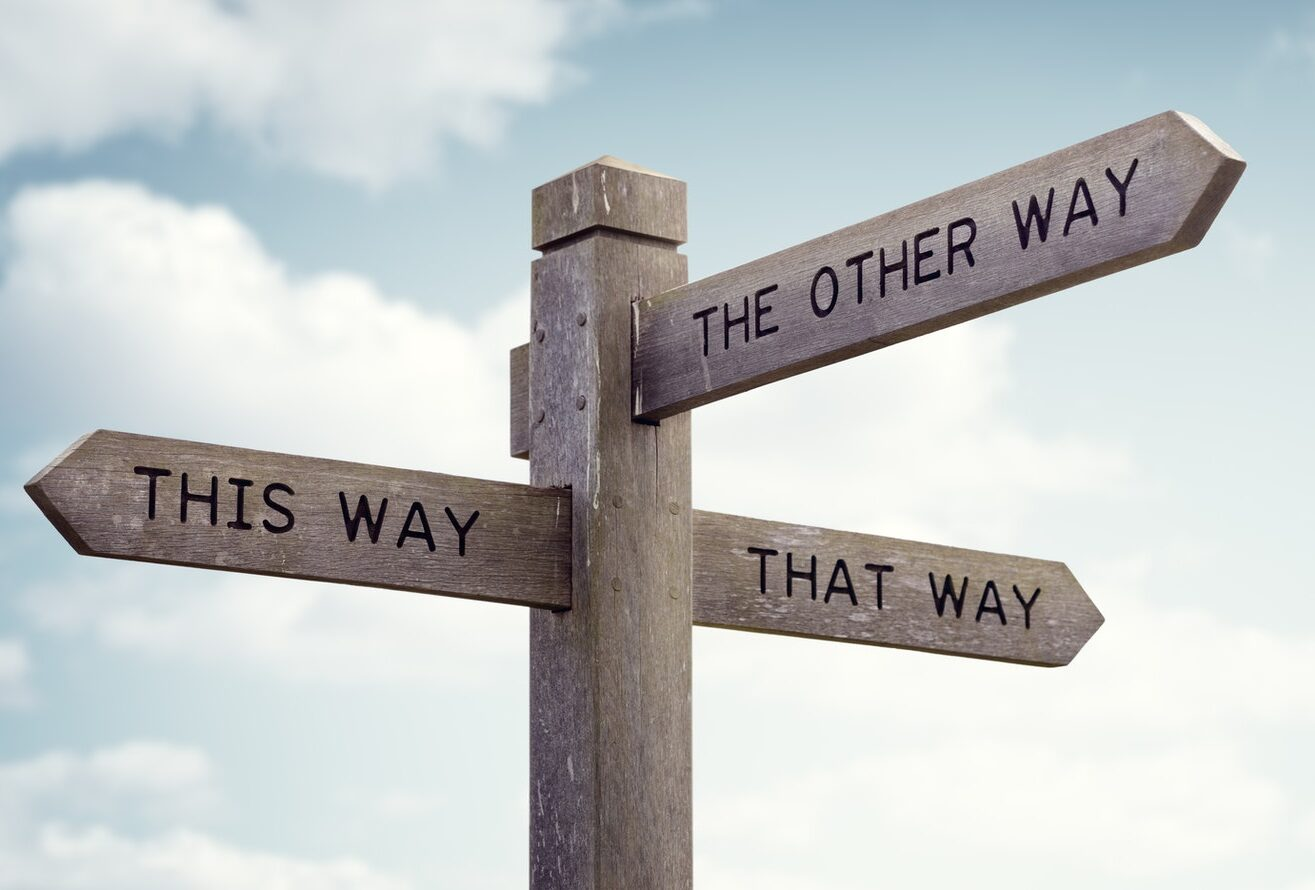 A crossroad sign of different ways, 'this way', 'that way' and 'the other way'
