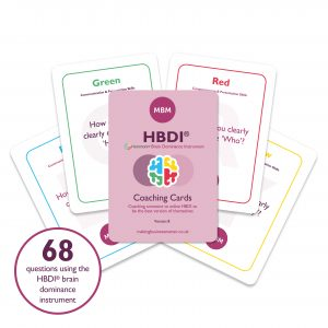 Five MBM coaching cards, four white and one purple