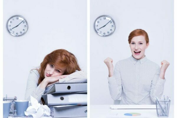 Same woman in two pictures, in one she's tired and the second she's happy