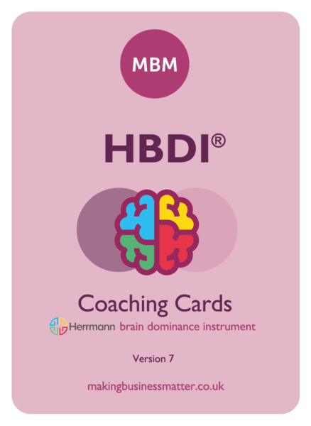 The HBDI logo (depicting a brain in its 4 colored quadrants) on a coaching card