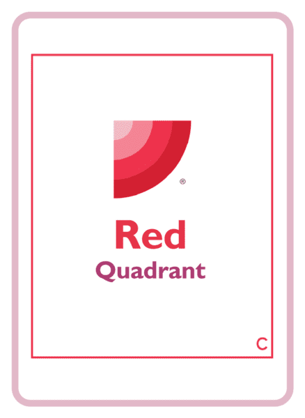 The red quadrant of the HBDI, on a coaching card