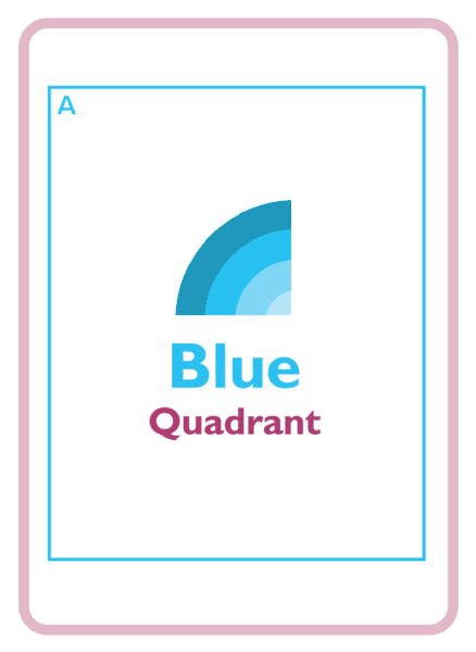 The Blue Quadrant's logo on a coaching card, a section of the HBDI assessment