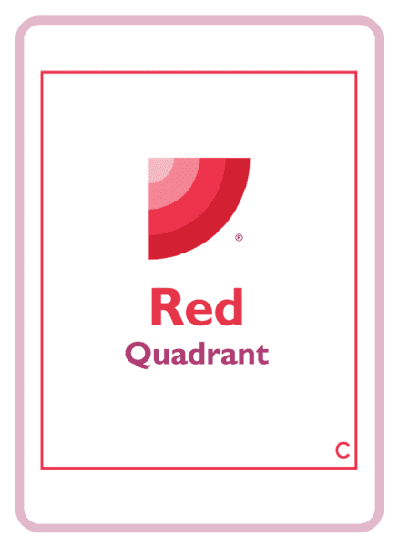 The red quadrant logo on a coaching card