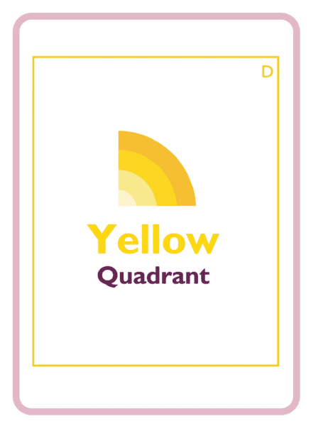 The yellow quadrant logo on a coaching card