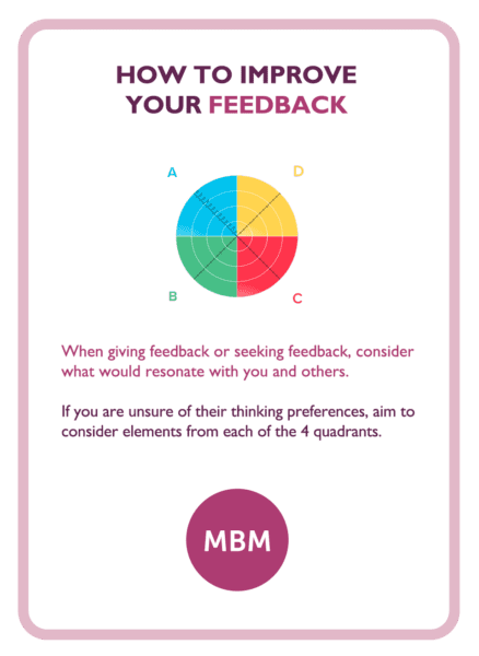 HBDI coaching card titled How to improve your feedback