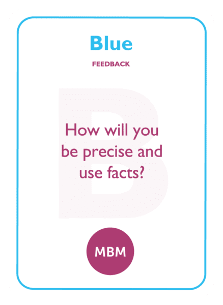 HBDI coaching card titled Blue Feedback