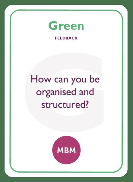 HBDI coaching card titled Green Feedback
