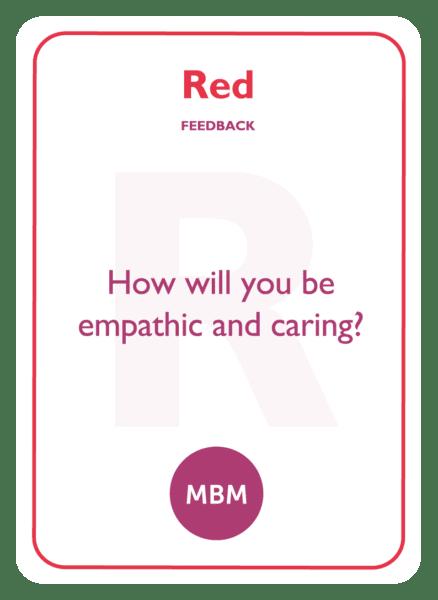 HBDI coaching card titled Red Feedback
