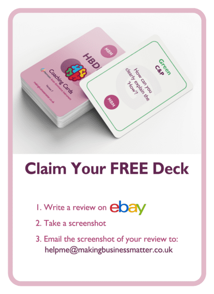 HBDI coaching card titled Claim your free deck
