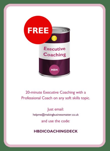 HBDI coaching card titled Executive Coaching