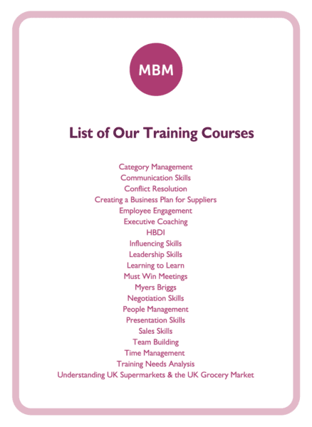 HBDI coaching card titled List of our training courses