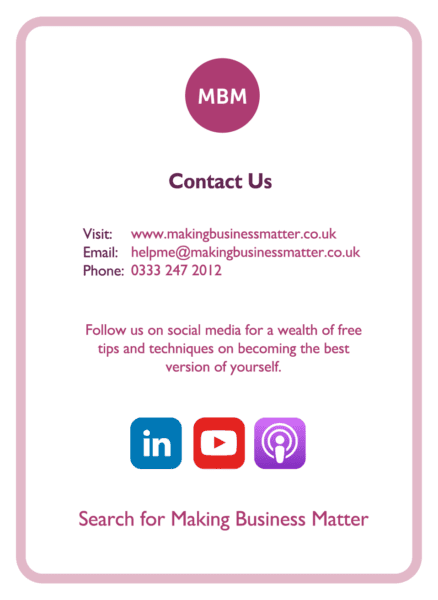 The MBM Contact us Business card- containing all our key details to get in touch and social media spheres that we are on