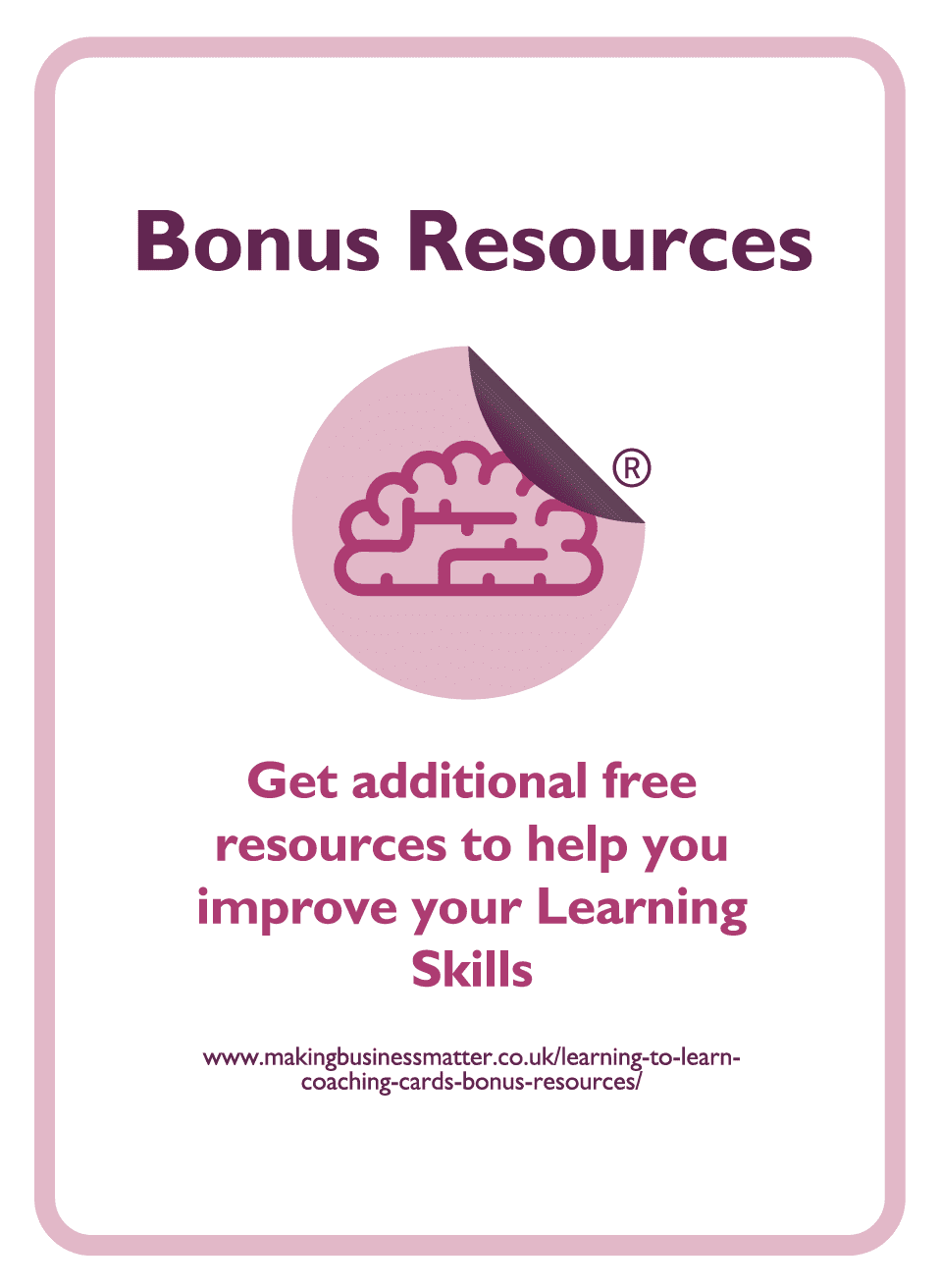 Learning to Learn coaching card titled Bonus Resources