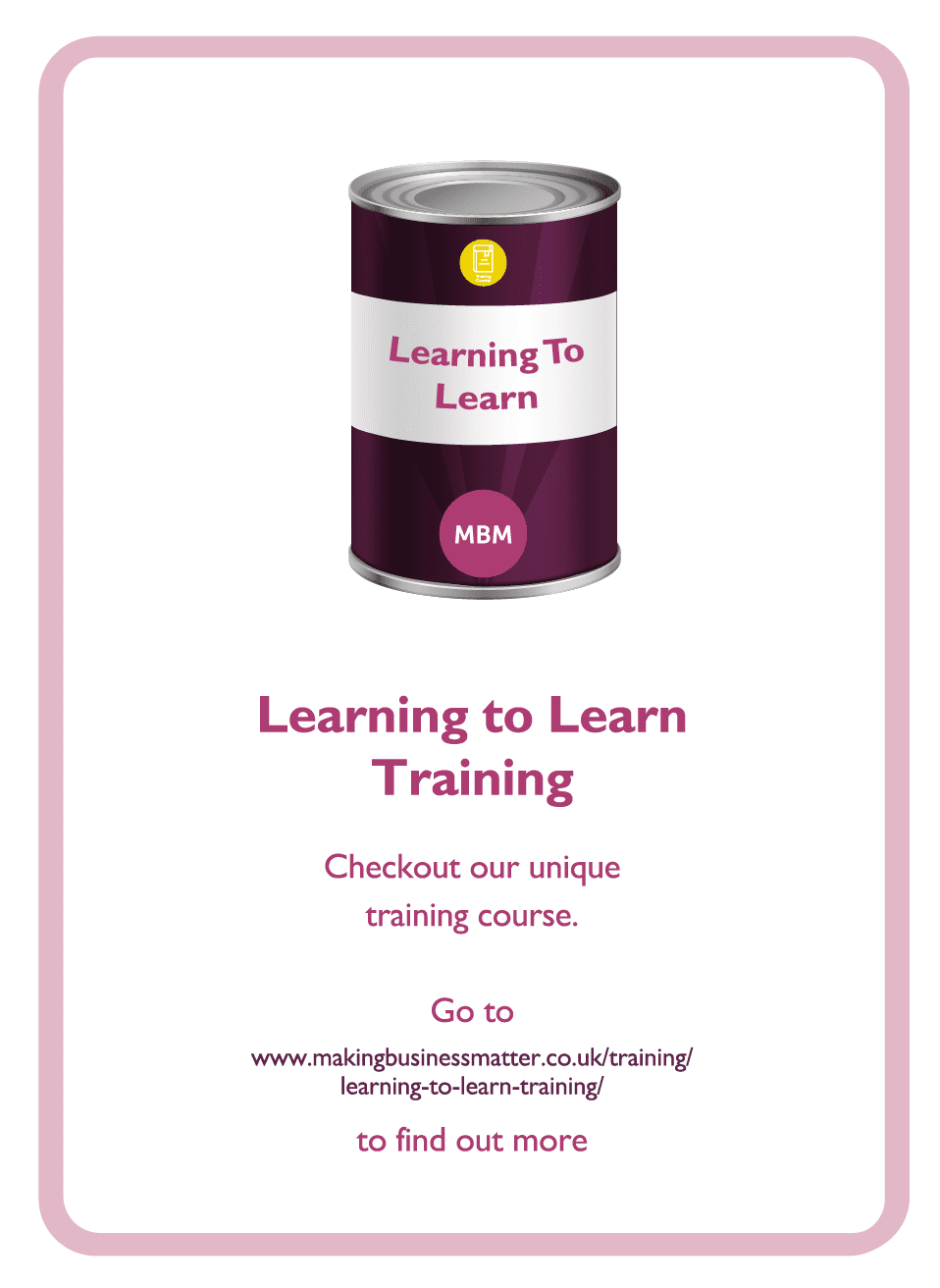 Learning to Learn coaching card titled Learning to Learn