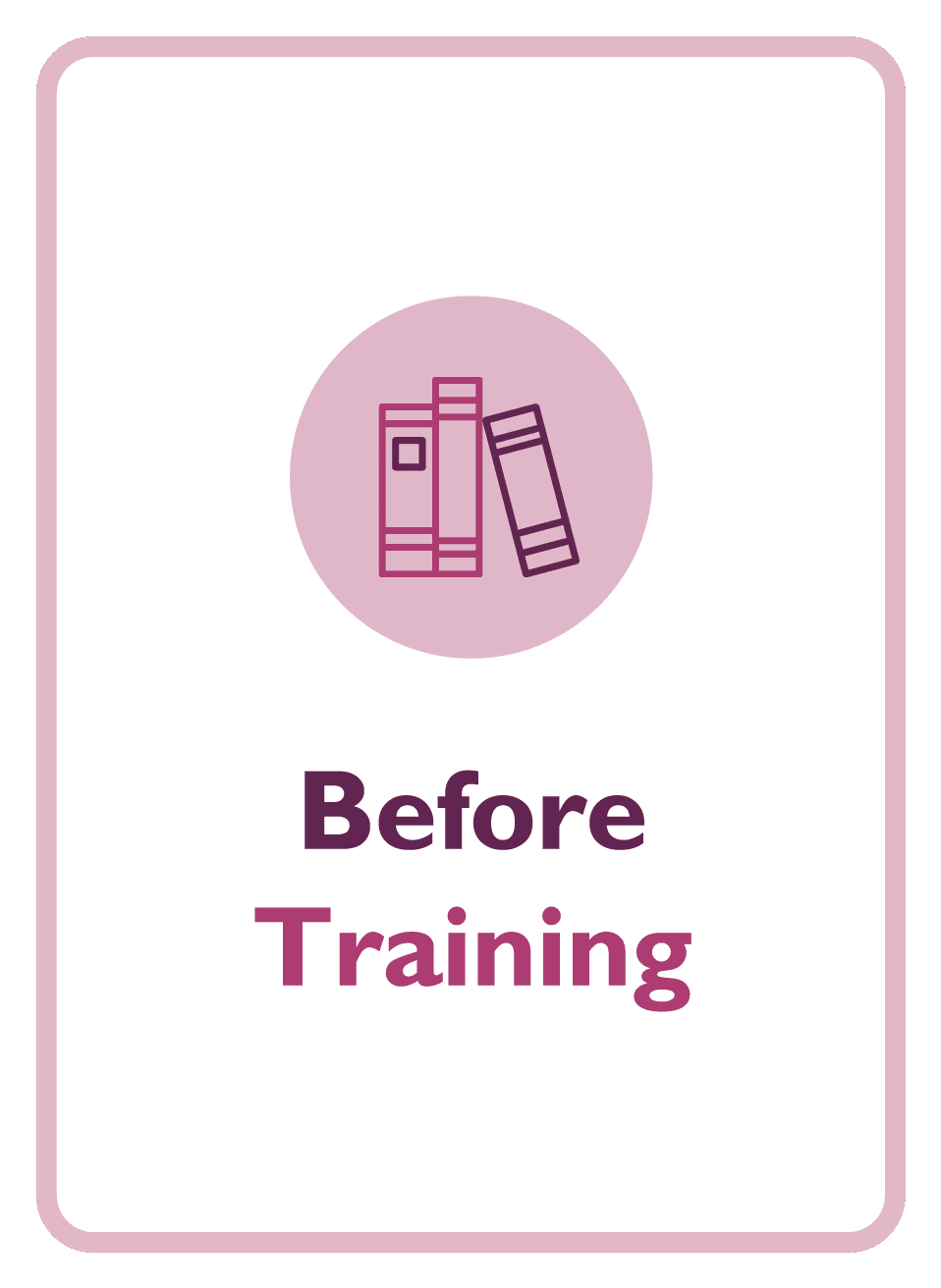 Learning to Learn coaching card titled Before Training