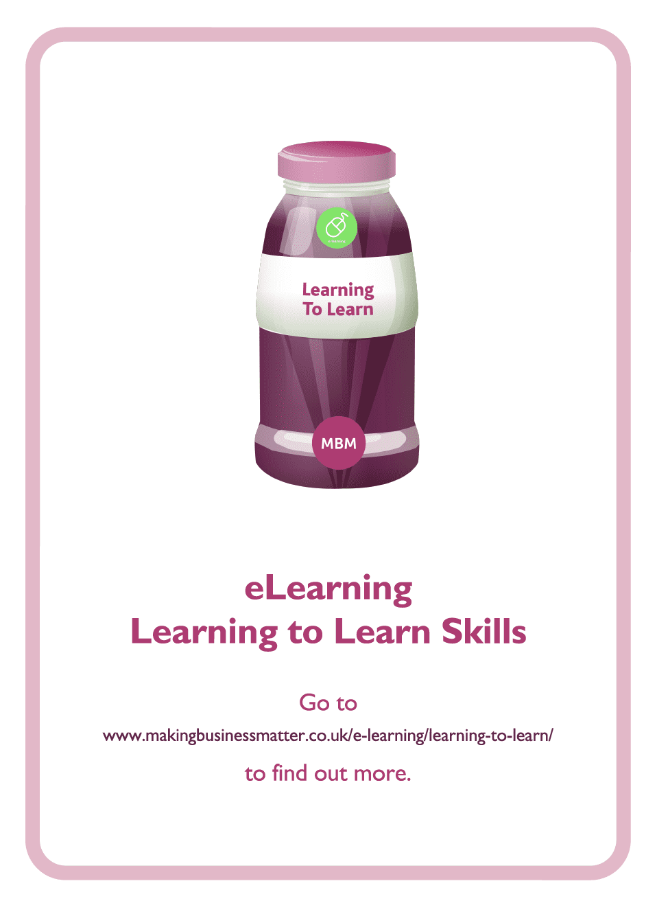 Learning to Learn coaching card titled eLearning