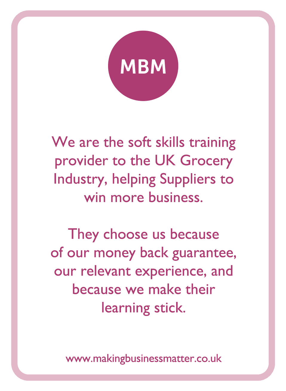 Coaching card with MBM logo and brand information