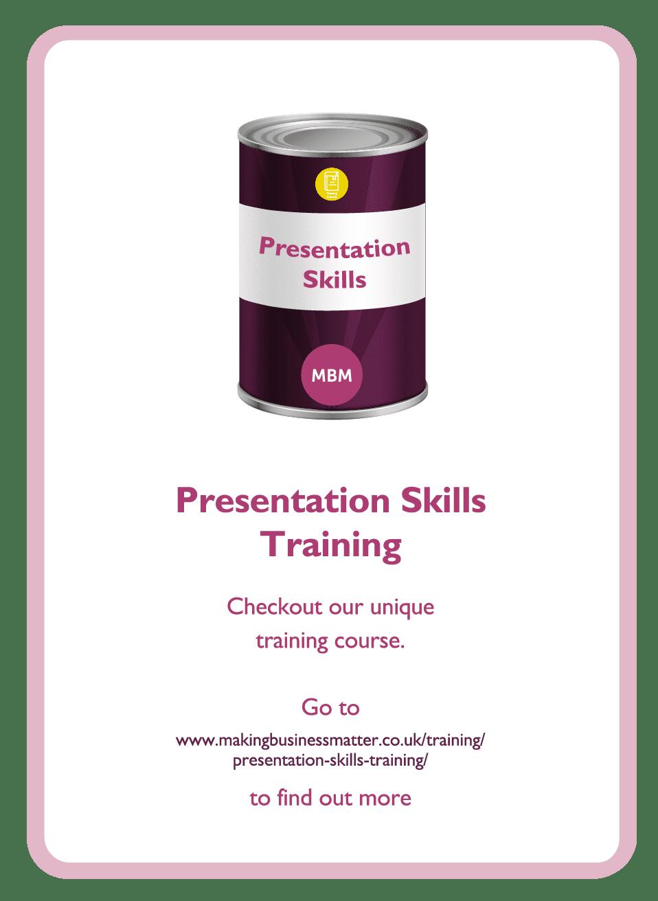 Coaching card titled Presentation skills training