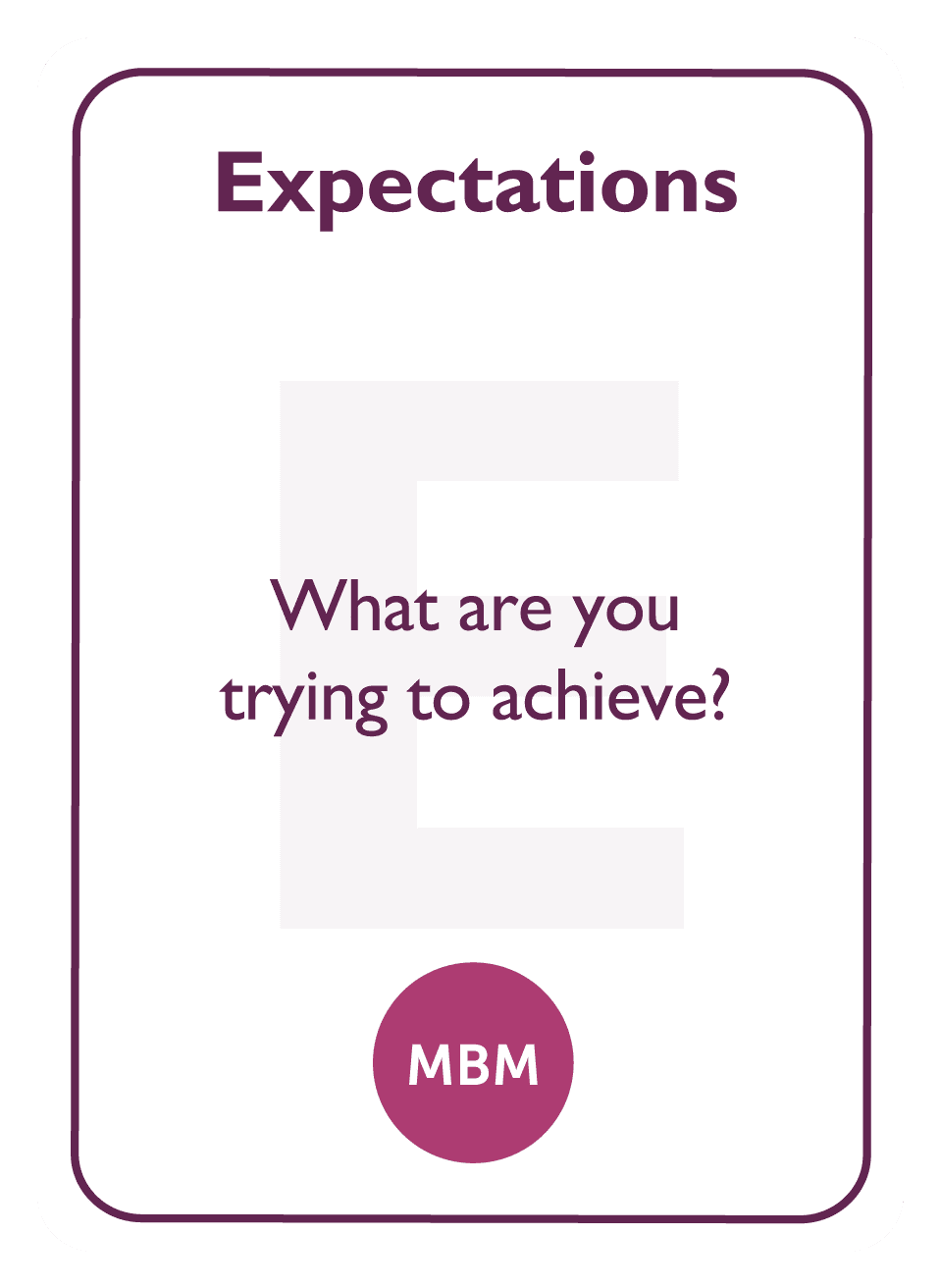 Coaching card titled Expectations