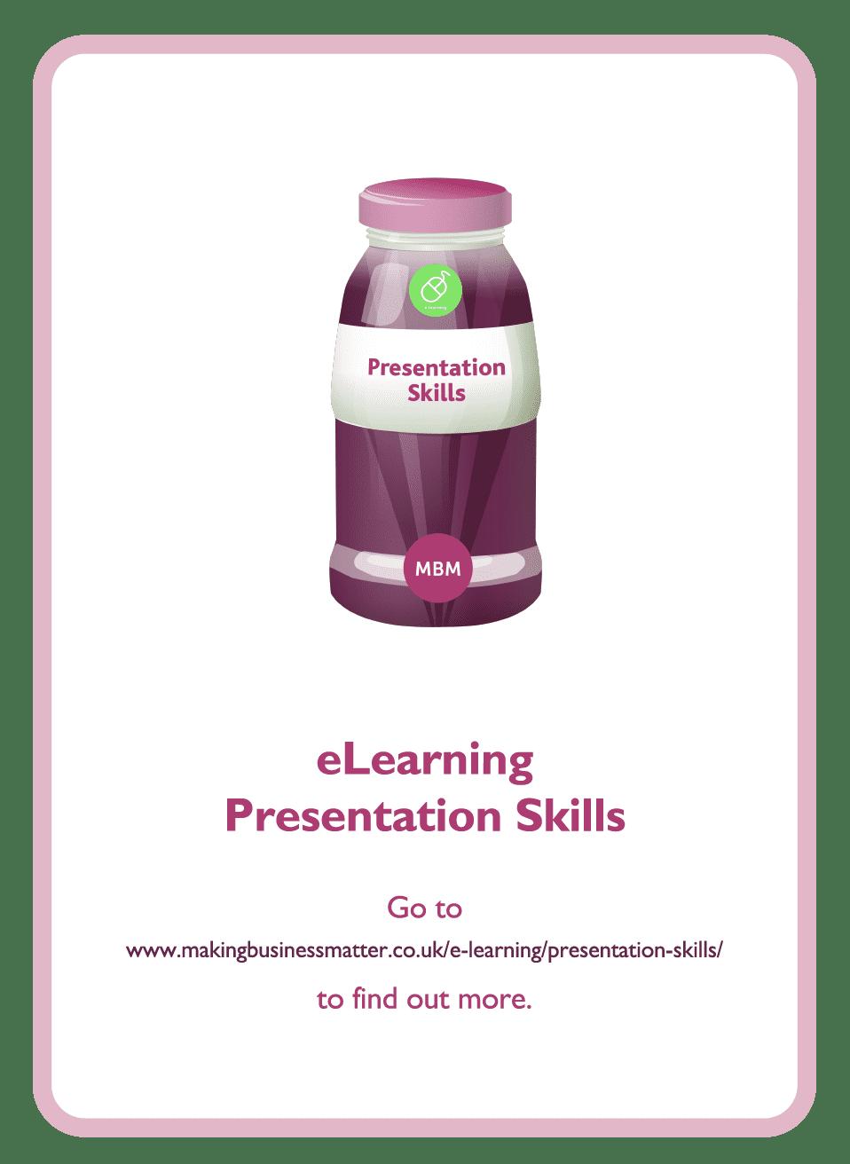 Coaching card titled eLearning presentation skills
