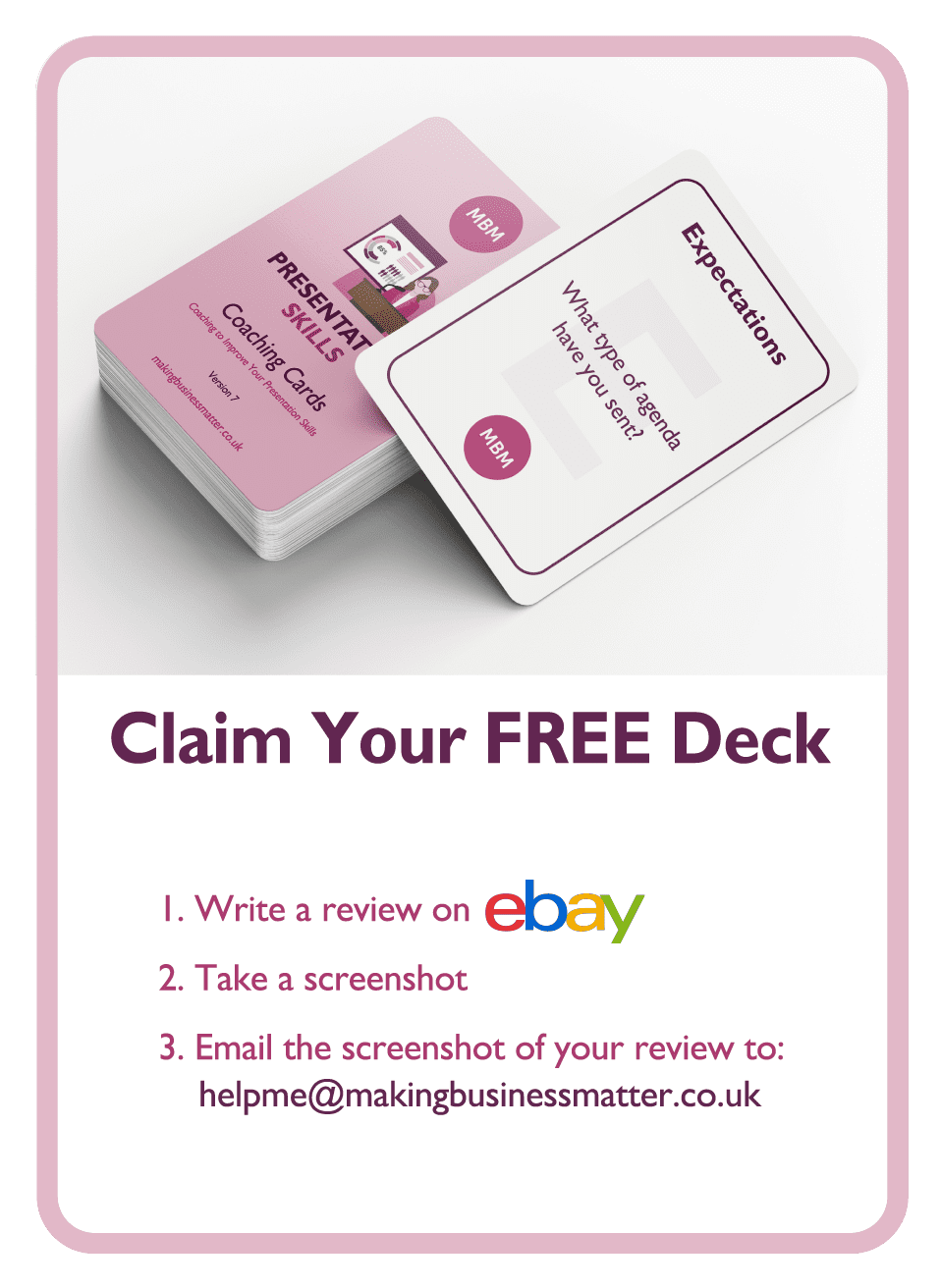 Coaching card titled Claim your free deck