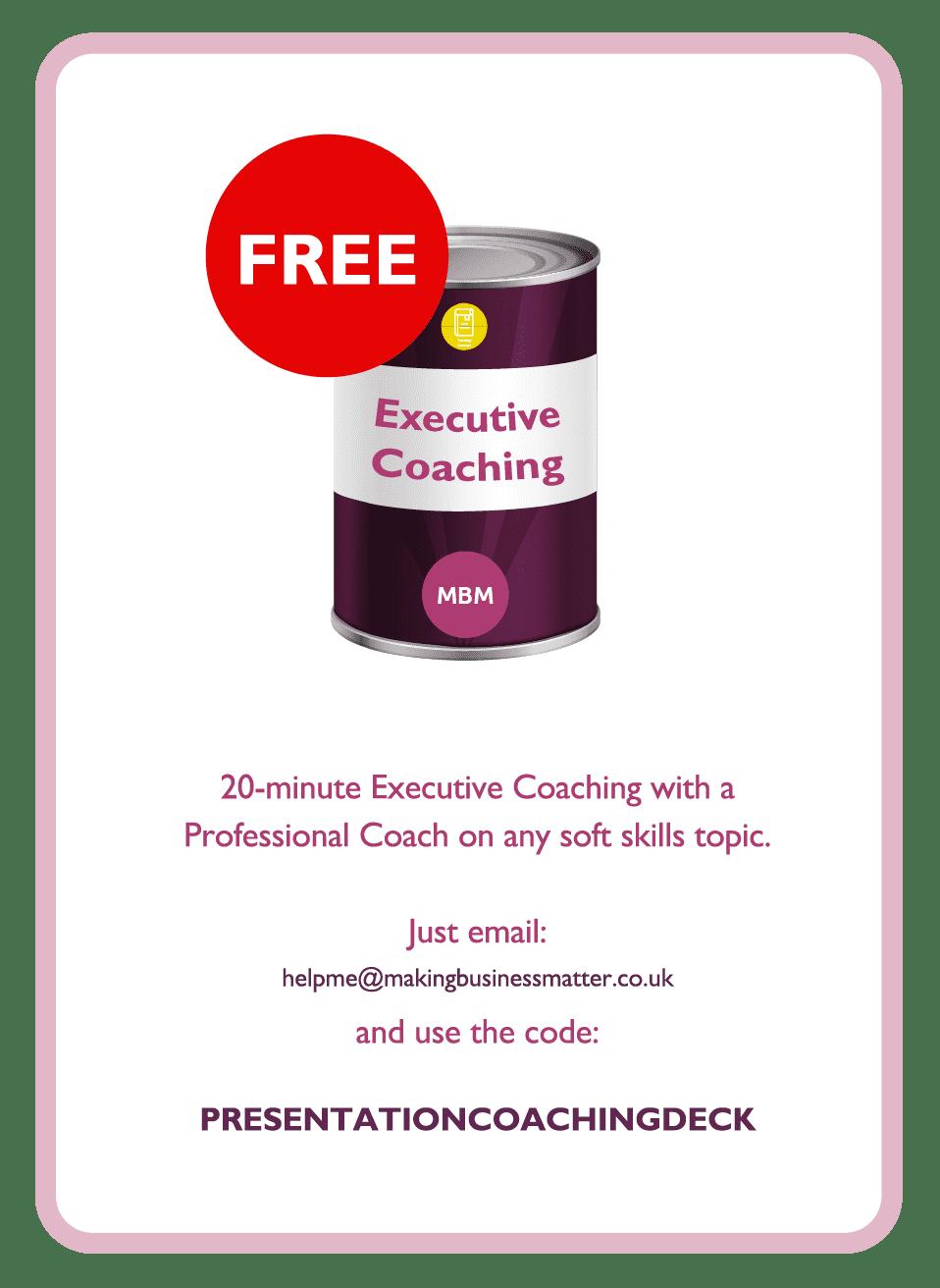 Coaching card titled Executive coaching