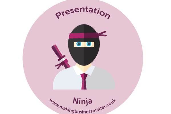 Cartoon ninja with a tie in a pink sticker