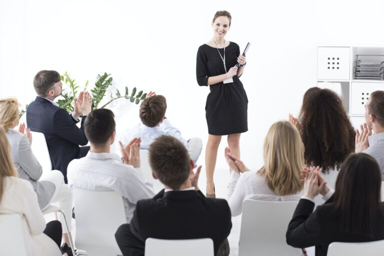 One woman showing her colleagues effective ethical management