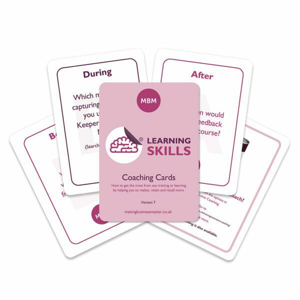 Five coaching cards fanned out