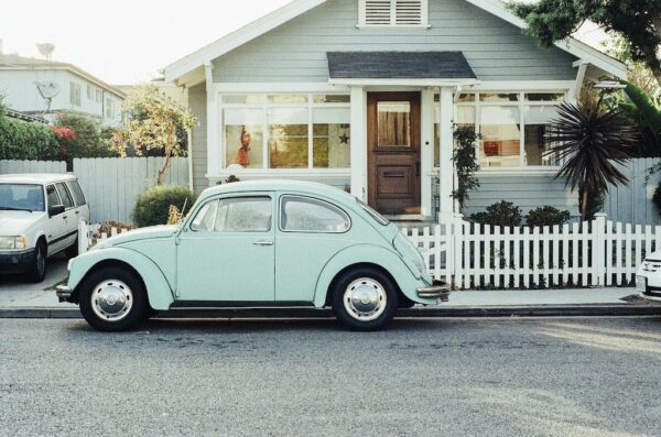 Old fashioned mint green beetle