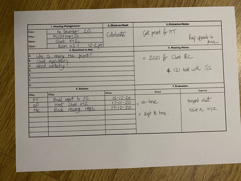 A meeting template filled in by hand as an example