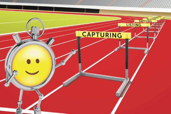A cartoon stopwatch next to seven hurdles with time management ideas written on them