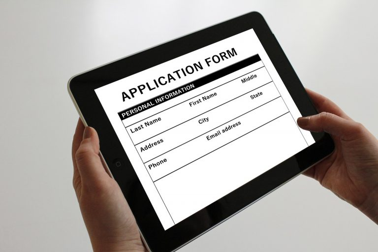 Application form on electronic table