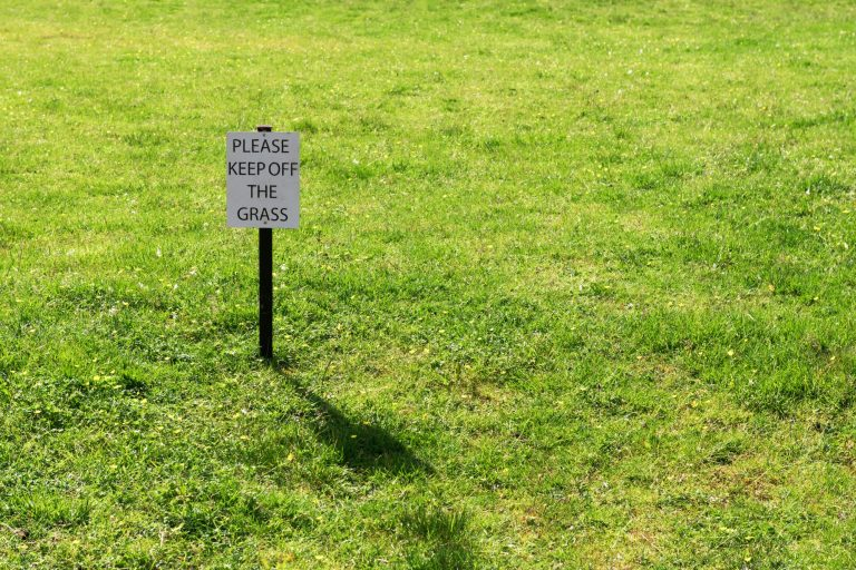 Green grass field with with Please keep off the grass sign